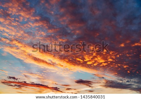 Amazing cloudscape on the sky at sunset time after rain. #1435840031