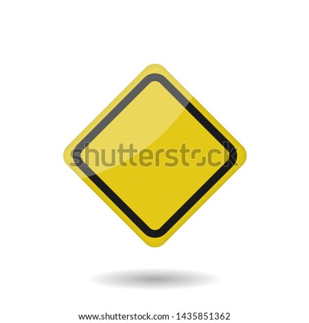 Yellow empty warning sign isolated. Vector illustration #1435851362