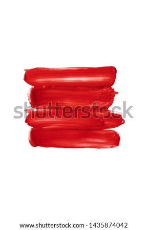 Smears pink lip gloss isolated. Swipes lipstick on white background. Smudged makeup cosmetic product sample. - Image #1435874042