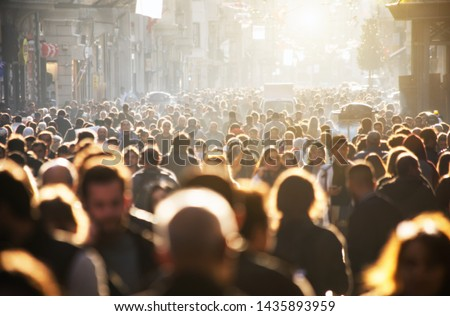 Blurred crowd of unrecognizable at the street #1435893959