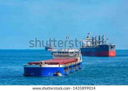 Bulk carrier vessels at outer anchorage of Kamsar port, Guinea, West Africa. #1435899014