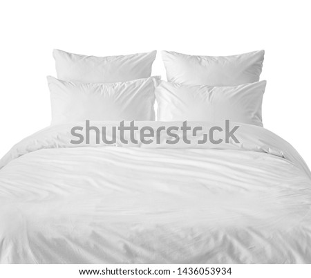White bed side view. White bed isolated. White bed linen on a white bed. #1436053934