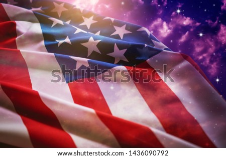 American flag with night sky background.  #1436090792