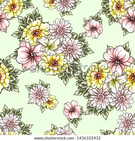 Abstract elegance seamless pattern with floral background #1436102432