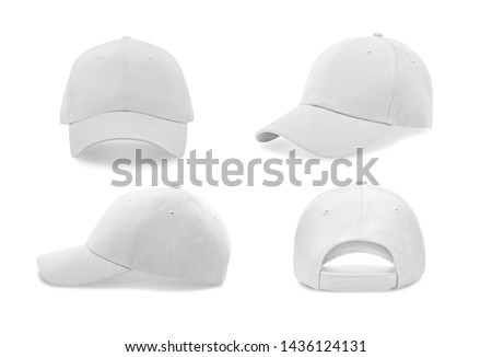 White baseball cap in four different angles views. Mock up.