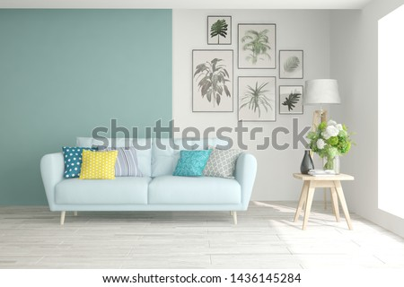 Stylish room in white color with sofa. Scandinavian interior design. 3D illustration #1436145284