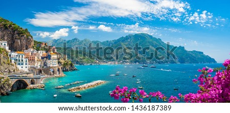 Landscape with Atrani town at famous amalfi coast, Italy #1436187389