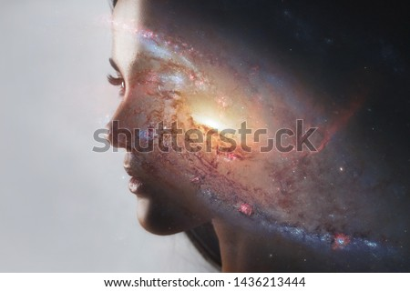 The universe inside us, the profile of a young woman and space, the effect of double exposure. scientific concept. The brain and creativity. Elements of this image furnished by NASA. #1436213444