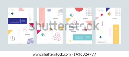 Covers with minimal design. Cool geometric backgrounds for your design. Applicable for Banners, Placards, Posters, Flyers etc. Eps10 vector #1436324777