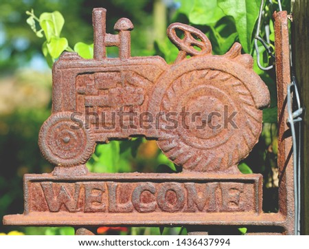 Rustic Farm Tractor Welcome Sign