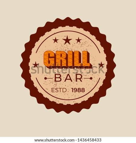 Grill bar - lettering badge design. Vector illustration. #1436458433