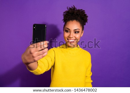 Close-up portrait of her she nice-looking charming cute attractive lovely winsome cheerful cheery wavy-haired girl taking making selfie isolated over bright vivid shine violet background #1436478002