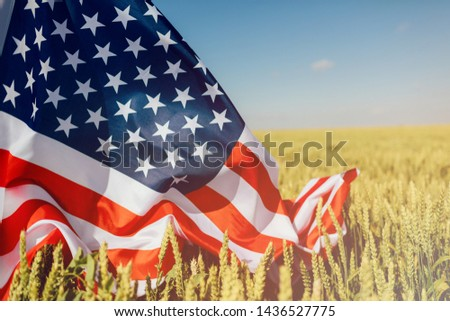 Patriotic holiday. Boy holding American flag. Patriots of America. Independence day, 4th of july . #1436527775