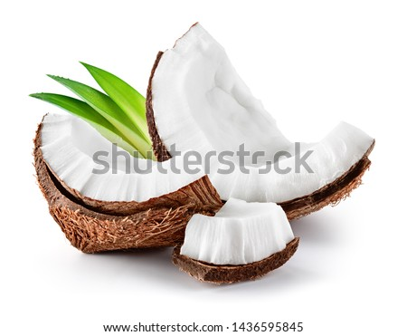 Coconut slice. Coco pieces isolated on white. Coconut with leaves. #1436595845