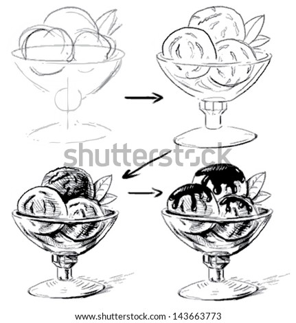 Ice cream in glass bowl. Sketching working process. Hand drawing illustration