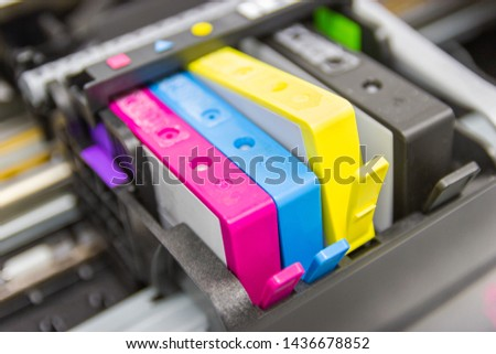 An ink cartridge or inkjet cartridge is a component of an inkjet printer that contains the ink four color #1436678852