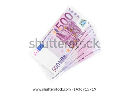 Stack of 500 Euro banknotes. European currency money banknotes isolated on white backdrop. Top view closeup. Salary, savings, european union economic crisis concept. #1436715719