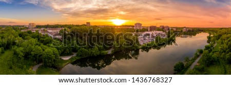 Aerial sunset panorama of Columbia Town Center in Maryland new Washington DC with office buildings and the Columbia Mall #1436768327