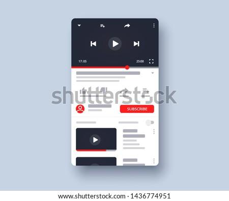 Social media screen template mobile video player. Mockup phone video player, app, ui. Blogging. Channel. Social media concept. Vector illustration. EPS 10 #1436774951