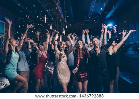 Portrait of good-looking festive lady guy having fun raise hands arms shout laugh emotional have vent holidays free time rejoice suit dress discotheque #1436792888