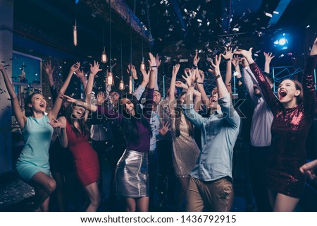 Nice attractive lovely smart shine glamorous stylish trendy fashionable cheerful positive girl and guys having fun chill out bachelor graduate lifestyle feast amusement event in luxury place nightclub #1436792915