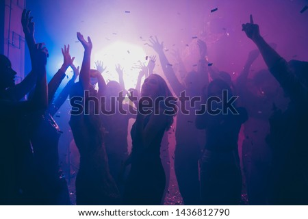 Nice attractive stylish cheerful cheery positive carefree guys ladies having fun hanging out best summer year student festive in new cool bar modern place indoors Royalty-Free Stock Photo #1436812790