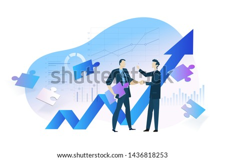 Flat design concept of business analysis and planning, increase profits, business growth. Vector illustration for website banner, marketing material, business presentation, online advertising. Royalty-Free Stock Photo #1436818253