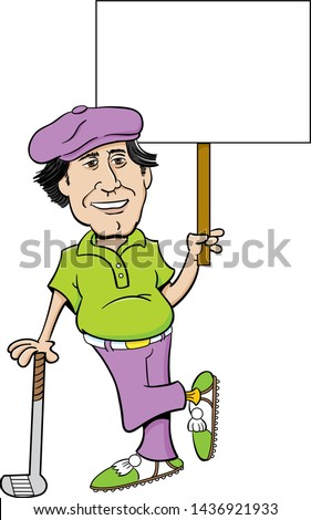 Cartoon illustration of a golfer leaning on a golf club and holding a sign.