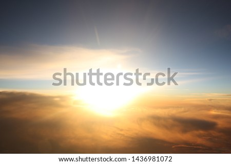 Aerial Sky View from Airplane #1436981072