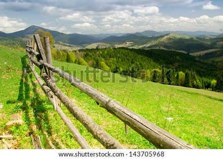 Fine country view in forest mountain. Carpathian, Ukraine. #143705968