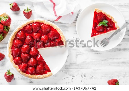 Delicious strawberry tart on white wooden background, top view #1437067742