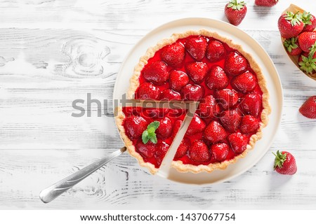Delicious strawberry tart on white wooden background, top view #1437067754