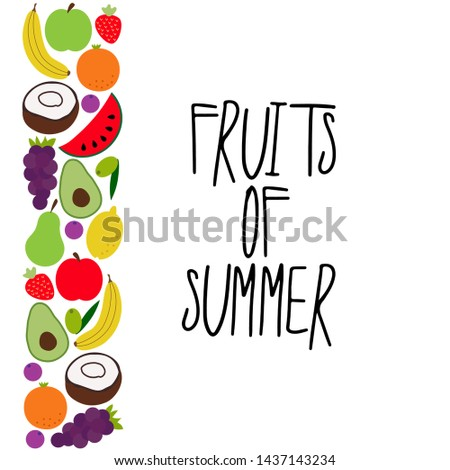 Beautiful set of bright juicy summer fruits as frame banner #1437143234