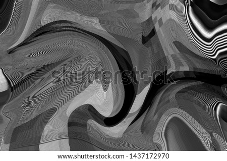 Monochrome abstract background of a psychedelic pattern. / Psychedelic pattern #1437172970