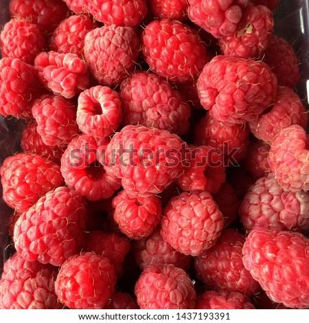 Macro Photo food raspberry berry. Texture background ripe pink raspberry berry. Image food product berry raspberry #1437193391