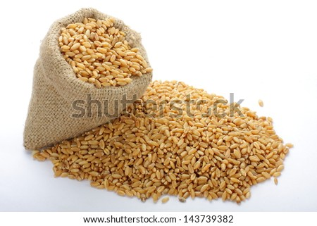 The scattered bag with wheat on a background of a grain. #143739382