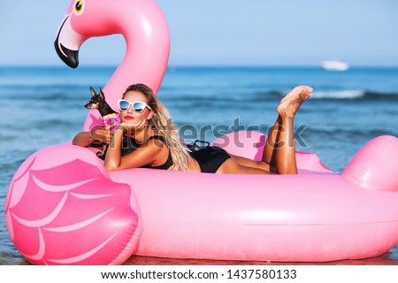 Summer lifestyle portrait of pretty smiling girl swimming on air mattress in the ocean with small cute dog, wearing black bikini and mirrored sunglasses. Smiling and having  fun. Travelling with dog #1437580133