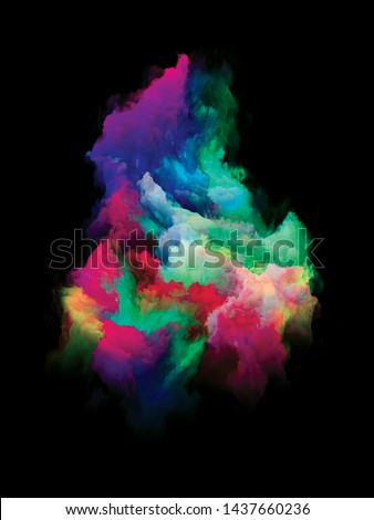 Particle of Paint. Rainbow Island series. Design composed of vibrant patch of hues and gradients as a metaphor for art, creativity and design #1437660236