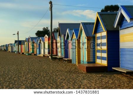 brightly coloured beach huts, Brighton Beach, Australia #1437831881