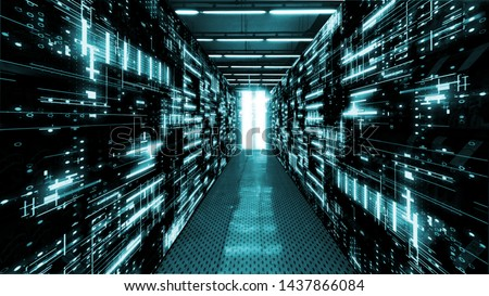 3D Rendering of data center room with abstract data servers and glowing led indicators, abstract network and ceiling lights. For Big data, machine learning, artificial intelligence concept background. #1437866084