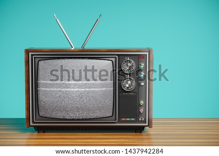 An old TV with a monochrome kinescope on wooden table. 3d