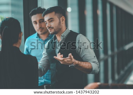 Group of Team Creative Business People Planning Marketing Strategy Analysis Office. Business People Meeting and Training in Corporate. The Success Business Marketing. Business Training Marketing. #1437943202