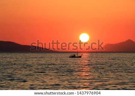 sunset on the picturesque shore of the Adriatic Sea #1437976904
