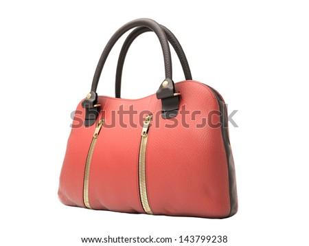 Women's red handbag isolated on white background #143799238