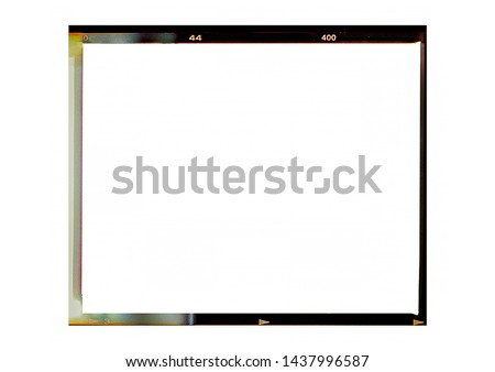 Medium format color film frame.With white space. Royalty-Free Stock Photo #1437996587