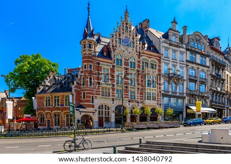 Old street in center of Brussels, Belgium. Cityscape of Brussels (Bruxelles). Architecture and landmarks of Brussels. #1438040792