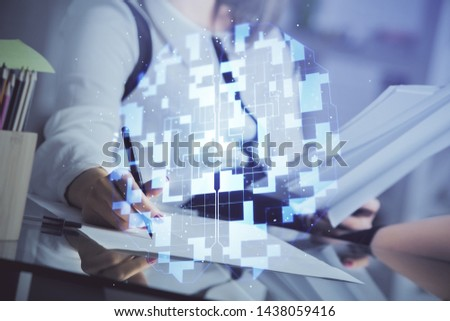 Multi exposure of woman's writing hand on background with data technology hud. Big data concept. #1438059416