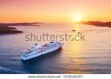 Croatia. Aerial view at the cruise ship during sunset. Adventure and travel.  Landscape with cruise liner on Adriatic sea. Luxury cruise. Travel - image #1438106267