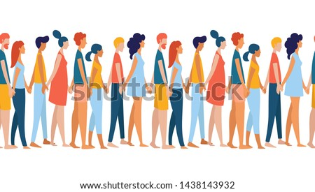 Different multiethnic women and men group crowd holding hands together. Multiethnic group of people. Rainbow colored Seamless pattern, border, frame vector illustration poster flat style #1438143932