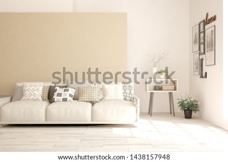 Stylish room in white color with sofa. Scandinavian interior design. 3D illustration #1438157948